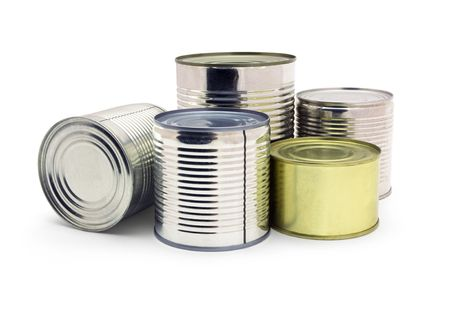 canned: Group of food tin cans isolated on white Stock Photo