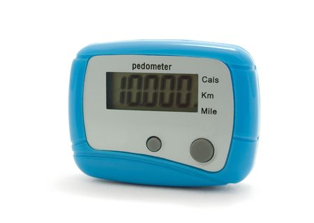 Blue digital pedometer displaying 10000 steps -  daily norm  Stock Photo