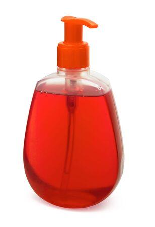 dispensador: Botella de jab�n l�quido rojo, aislado en blanco