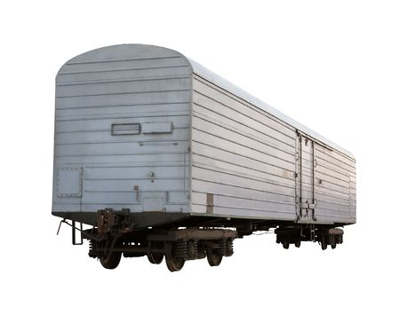 Gray closed boxcar isolated on white photo
