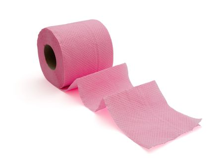 Roll of pink toilet paper  isolated on white photo