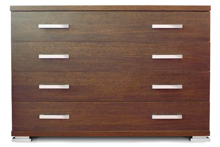 dresser: Wooden chest of 4 drawers - front view isolated on white Stock Photo