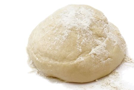 Raw fresh yeast dough isolated on white photo