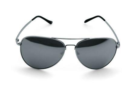 Mirrored aviator sunglasses isolated on white photo