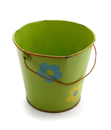 Old green tin baby bucket isolated on white Stock Photo - 6958388
