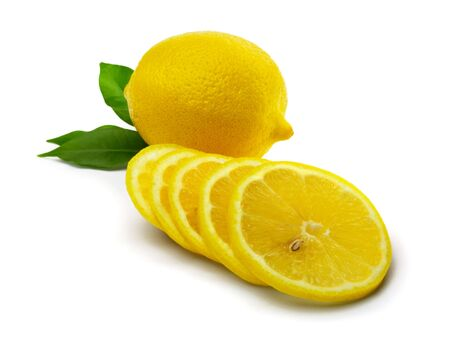 Lemon with leaves and lemon slices  isolated on white Stock Photo - 7222521