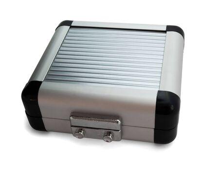 Closed aluminum box isolated on white Stock Photo - 7222522