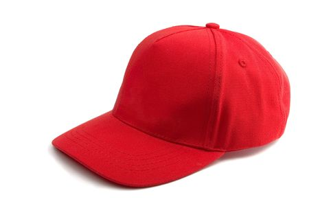 baseball caps: Red Baseball Cap isolated on white