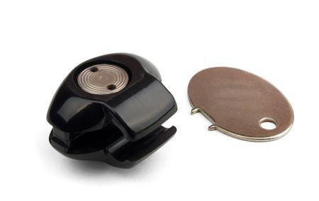 trigger: Bloqueo del gatillo de ca��n negro y clave aislados en blanco  Foto de archivo