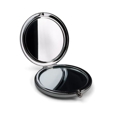 compact: Pocket make-up mini mirror isolated on white