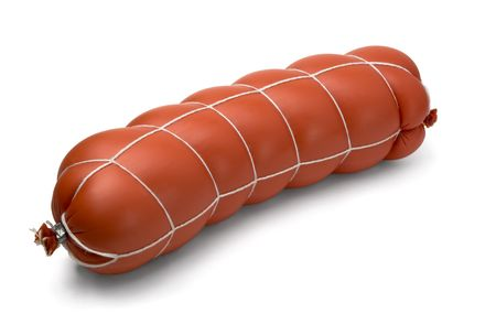 Cooked (boiled) sausage isolated on white photo