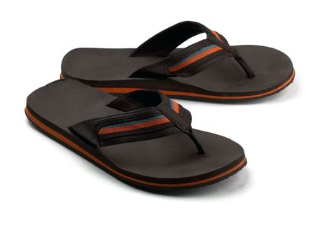 Pair of black mens flip flops isolated on white Stock Photo - 7323221
