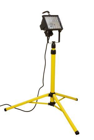 Halogen work lights on yellow tripod isolated on white Stock Photo - 7765503