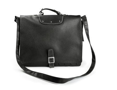 Black leather laptop bag isolated on white photo