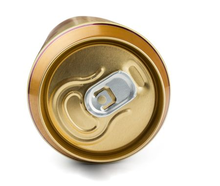 Top of golden aluminum  drink can  isolated on white Stock Photo - 7878737