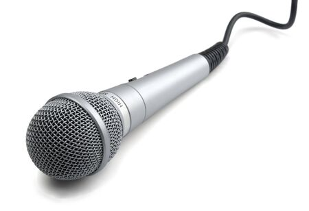 Silver microphone with black wire isolated on white Stock Photo - 7970472