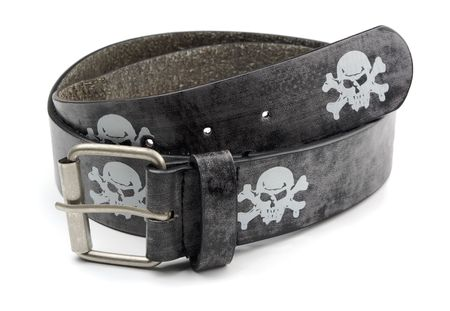 Black leather belt with skull and crossbones isolated on white photo