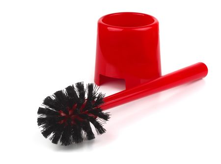 Red plastic toilet brush isolated on white Stock Photo - 8092568