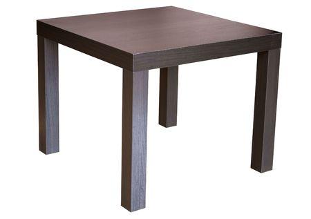 Square wenge wood table isolated on white  Stock Photo