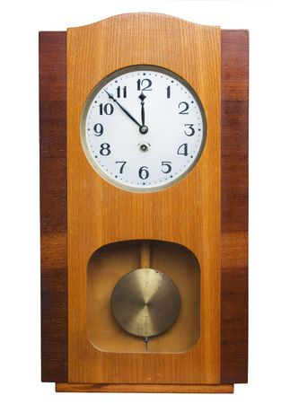 wooden clock: Old wooden wall clock isolated on white  Stock Photo