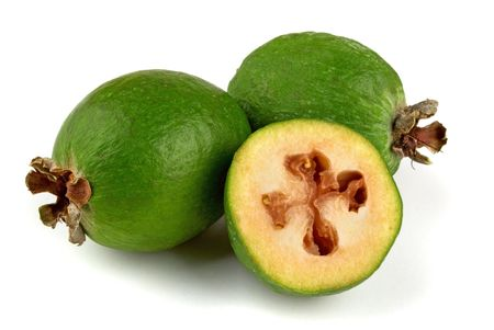 Tropical fruit feijoa (Acca sellowiana) isolated on white Stock Photo