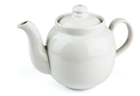 clay pot: White china teapot  isolated on white