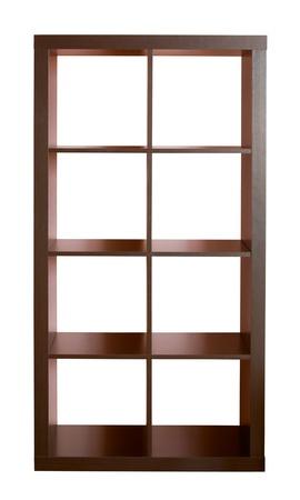 Empty dark wooden shelf isolated on white  Stock Photo - 8281495