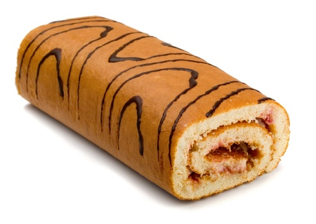 rolled: Sweet  roll cake isolated on white
