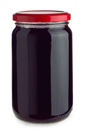Closed jar of blueberry jam isolated on white Stock Photo