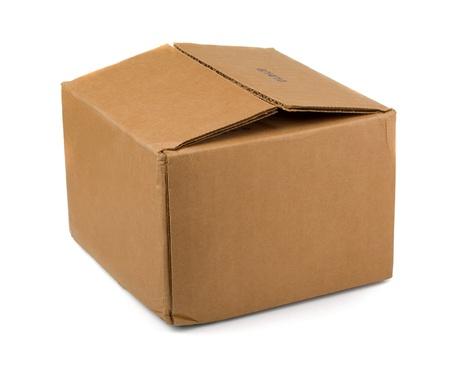 Bruin karton geïsoleerd op wit Stockfoto
