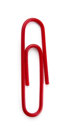 Red paper clip isolated on white Stock Photo - 8422563