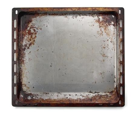 steel pan: Antiguo horno horno bandeja aislado en blanco