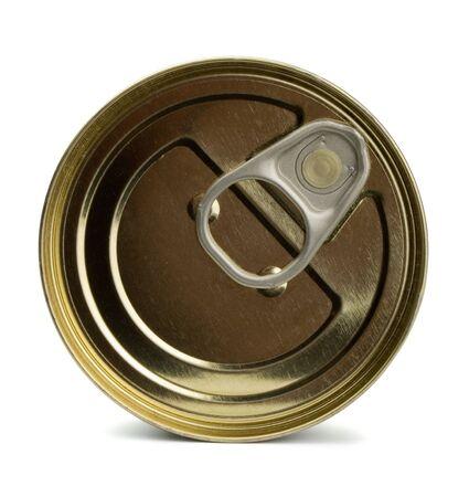 gold cans: Superiore del cibo chiuso di latta isolata on white