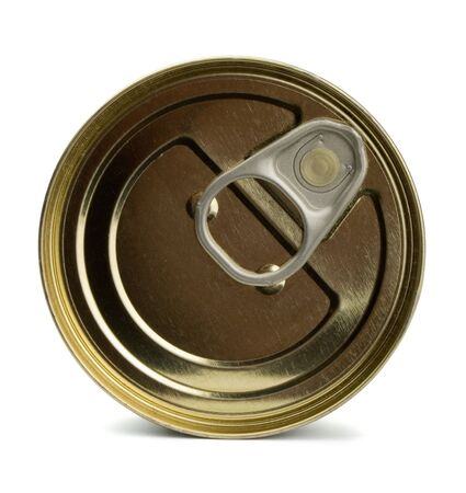 food and drink industry: Top of closed food tin can isolated on white Stock Photo
