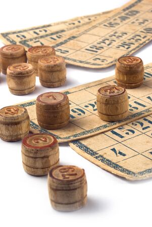loto: Old vintage bingo cards and numbers on white