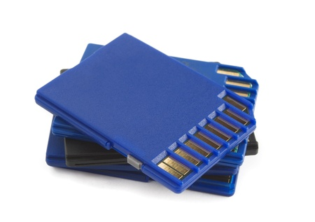 Stack of SD memory cards isolaterd on white Stock Photo - 8737352