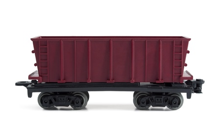 Toy plastic open freight car isolated on white Stock Photo - 8861292