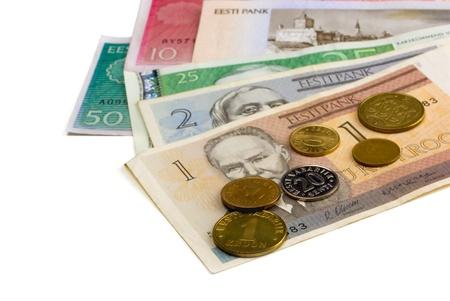 estonian: Money of the Estonian republic on white