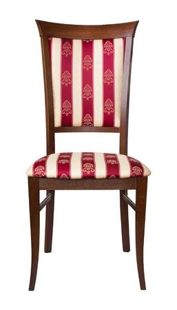 silla de madera: Cl�sico madera acolchada Presidente aislado en blanco