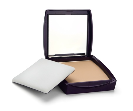 Compact  face powder isolated on white photo