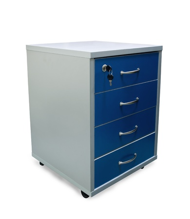 filing document: Four drawers of office filing cabinet  isolated on white Stock Photo