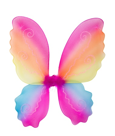 Toy pink fairy wings isolated on white photo