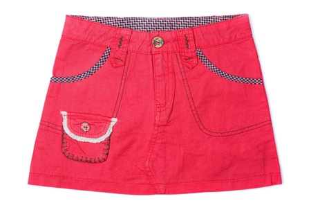 Pink denim mini skirt isolated isolated on white photo