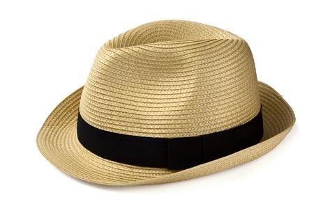 chapeau paille: Chapeau de paille de panama �t� isol� sur fond blanc Banque d'images