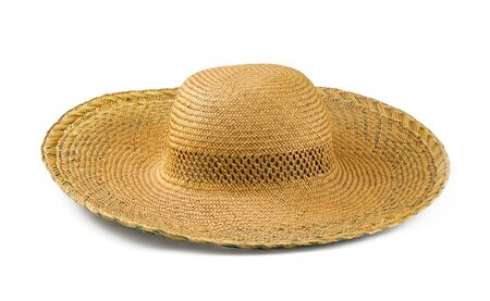 summer wear: Yellow straw  hat isolated on white Stock Photo