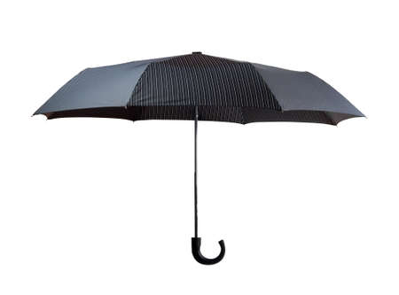 Open dark gray striped umbrella isolated on white photo