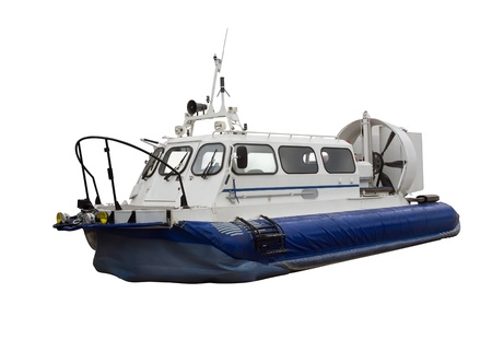 aéroglisseur: Hovercraft - Air-cushion boat isolated on white Banque d'images