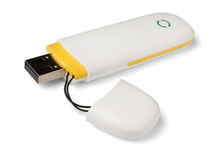 White 3g usb wireless mobile modem  isolated on white photo