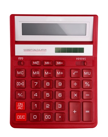 algebra calculator: Red calculator - top view isolated on white Stock Photo