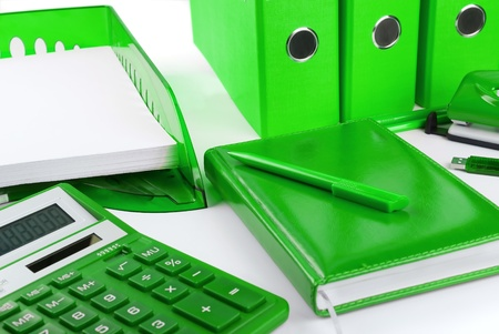 office equipment: Green office stationery still life as a concept of environmental business